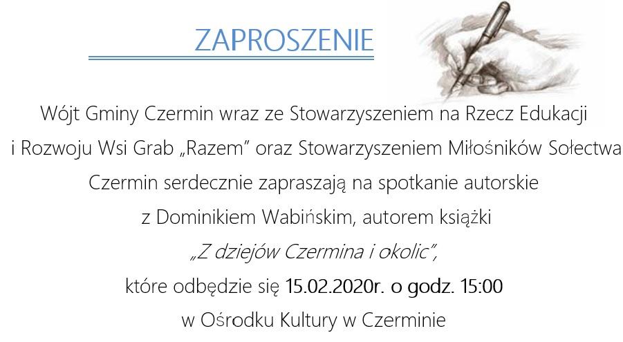 """Spotkanie autorskie zDominikiem Wabińskim autorem książki """"Zdziejów Czermina iokolic"""""""