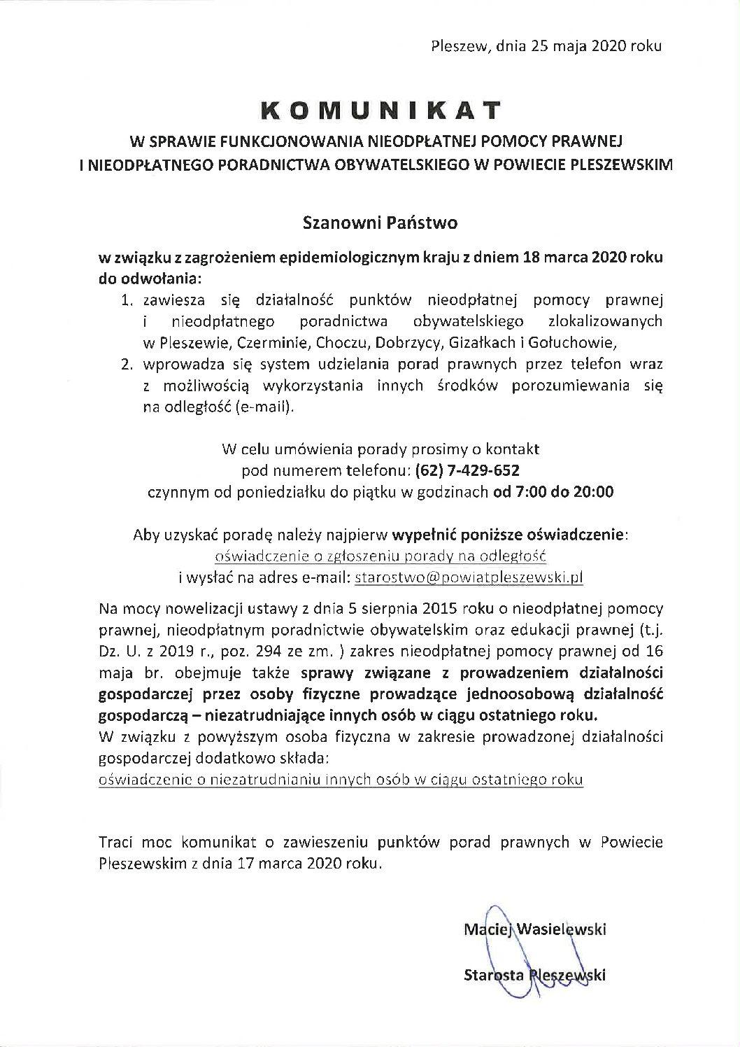 Nowy komunikat nieodpłatnej pomocy prawnej z17.03.2020